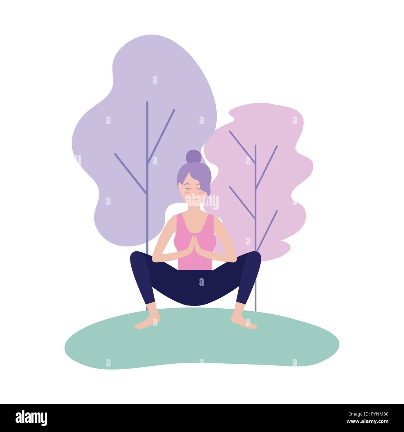 woman practice yoga meditation pose - Stock Vector
