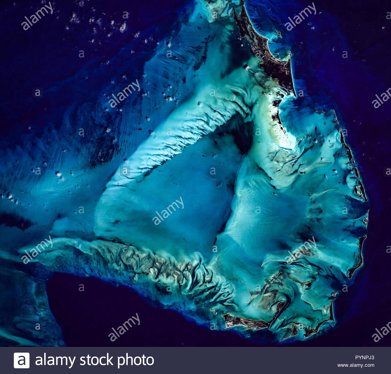 High resolution satellite image of Bahamas from above, Carribbean islands, aerial view, contains modified Copernicus Sentinel data [2018] - Stock Image