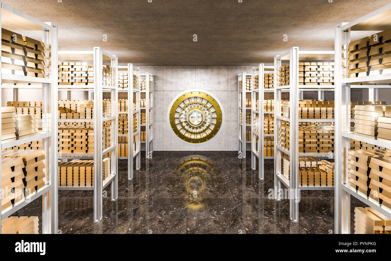 3d Rendering Of Gold Ingot In Bank Vault View From Inside