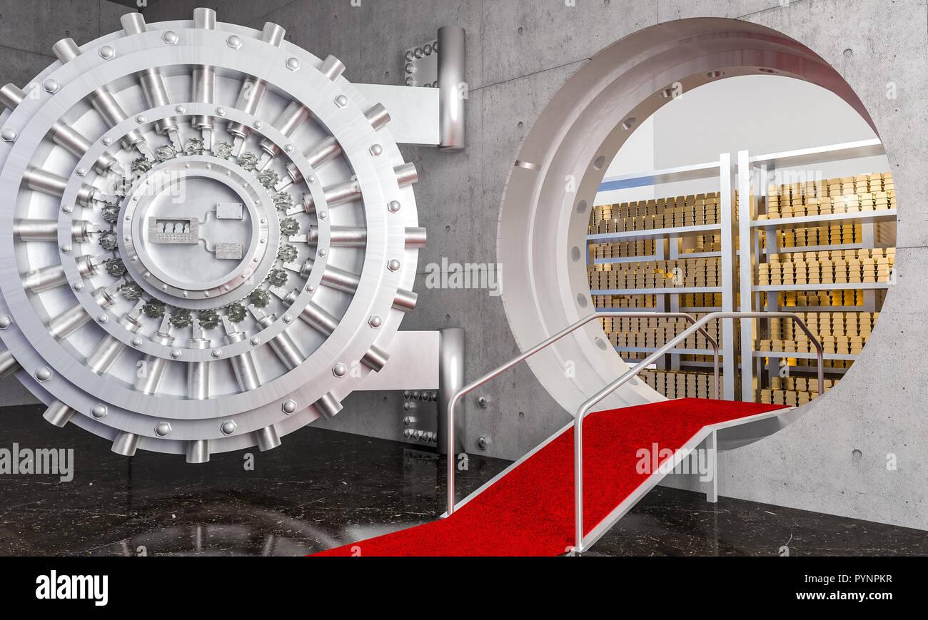 3d rendering of huge bank vault with gold ingot - Stock Image