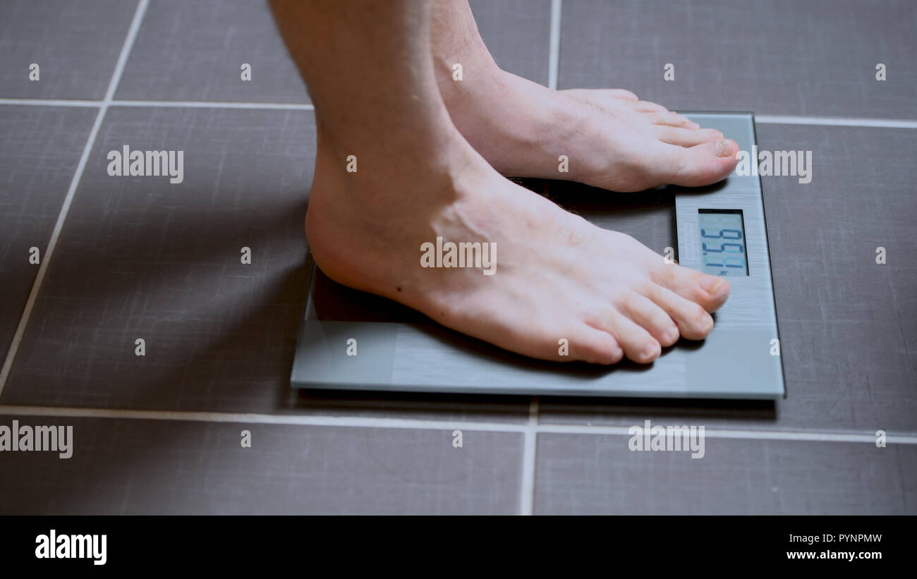 Male Feet On Glscales Menst Body Weight Close Up Man Standing On Scale