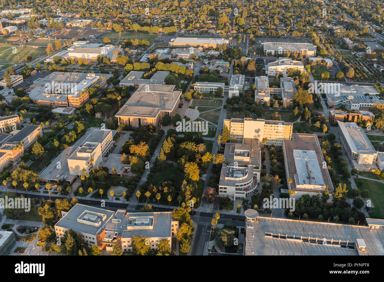 Los Angeles, California, USA - October 21, 2018:  Aerial sunset view of California State University Northridge central campus buildings in the San Fer - Stock Image