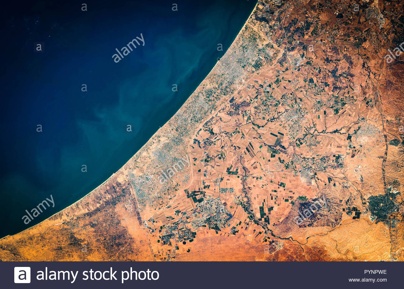 High resolution satellite image of Gaza Strip and Gaza city from above, aerial view, contains modified Copernicus Sentinel data [2018] - Stock Image