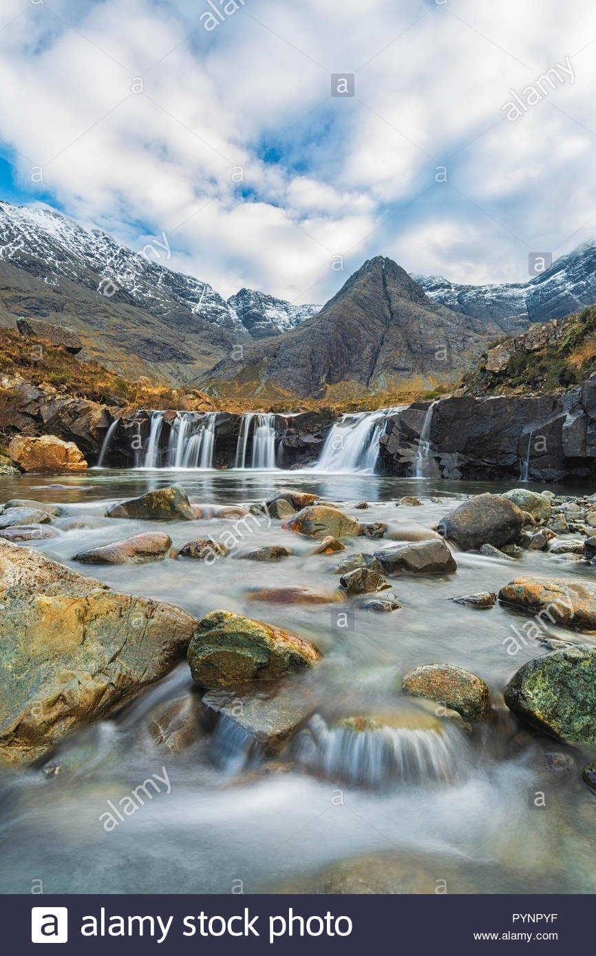 Fairy Pools with Cuillin range in background, Glen Brittle, Isle of Skye, Inner Hebrides, Scotland - Stock Image