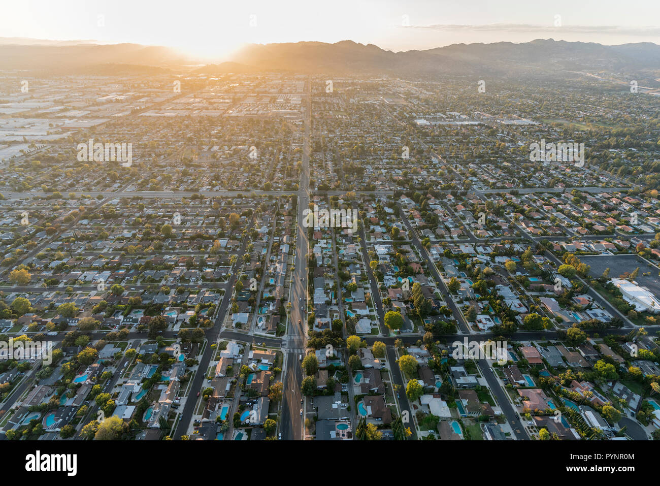Sunset Aerial View Down Lassen Street In The Chatsworth Area Of The