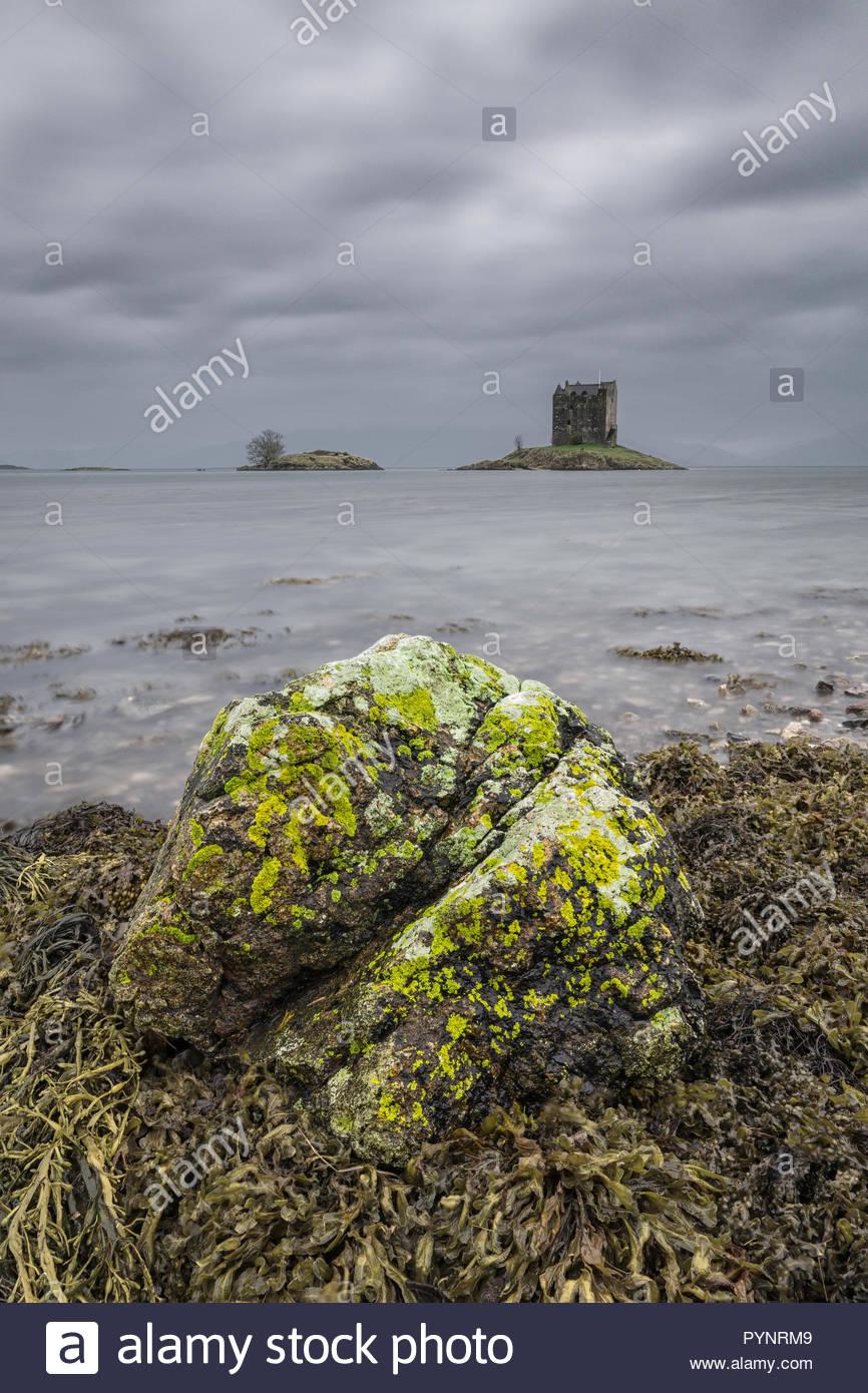 Castle Stalker ontidal Islet on Loch Laich, an inlet off Loch Linnhe, Argyll, Scotland - Stock Image