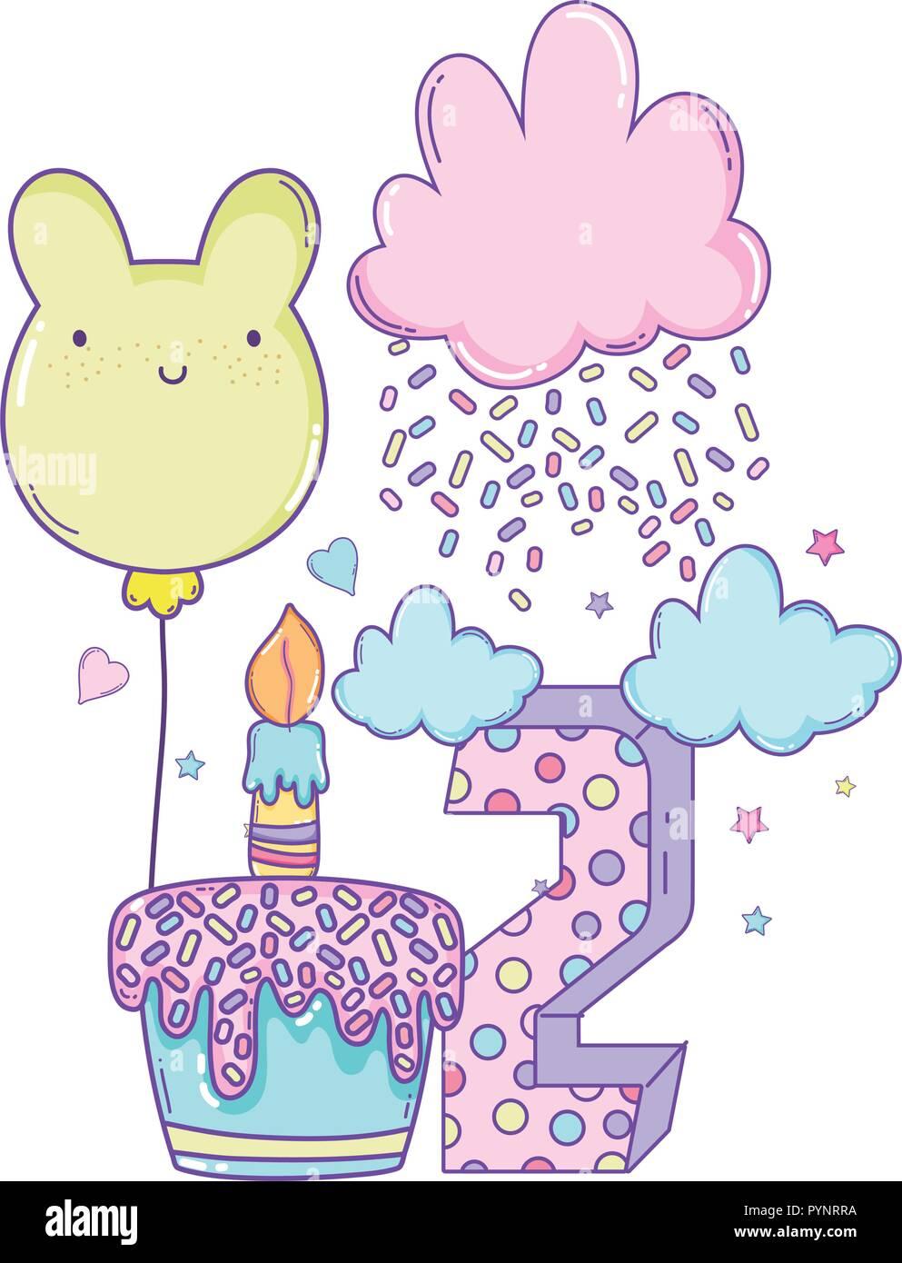 Happy birthday cartoons - Stock Image