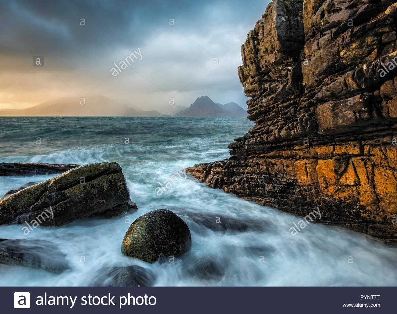 Elgol and the Black Cuillin, Isle of Skye, Scotland - Stock Image