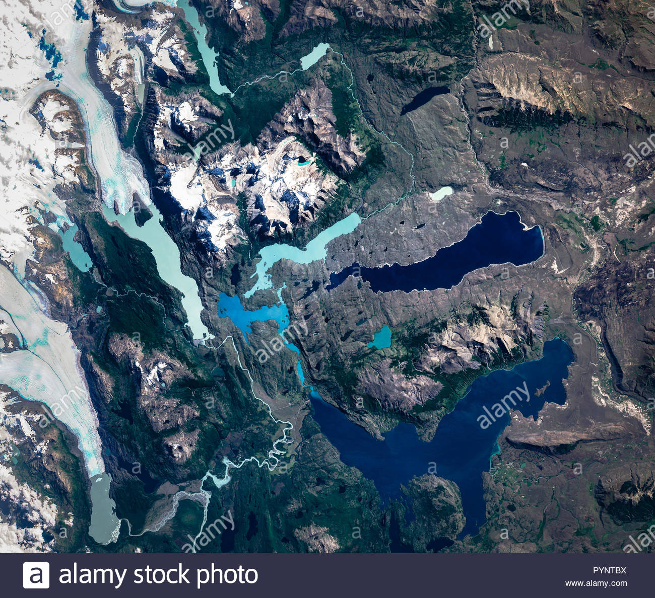 High resolution satellite image of Torres del Paine ...