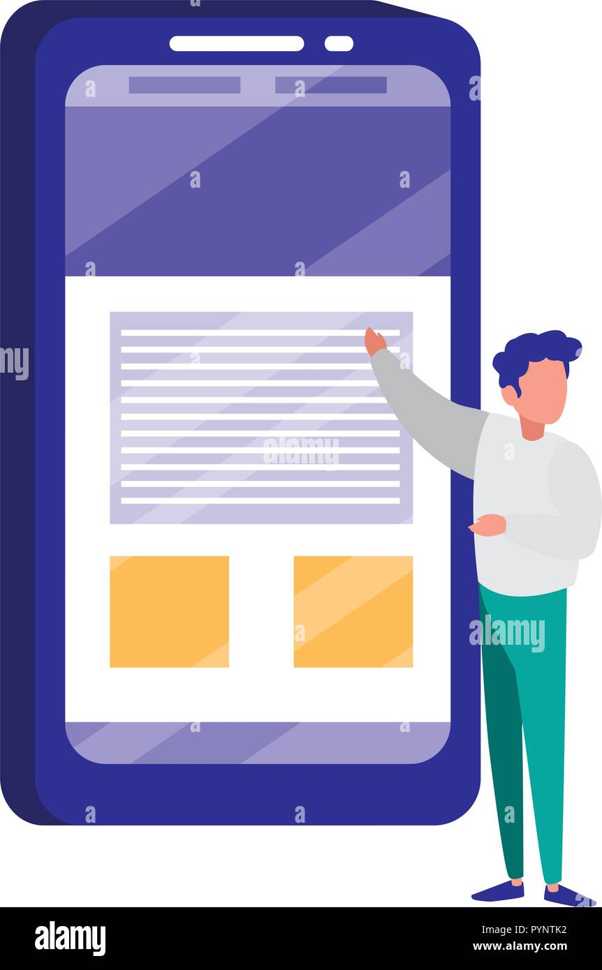 young man with smartphone vector illustration design - Stock Image