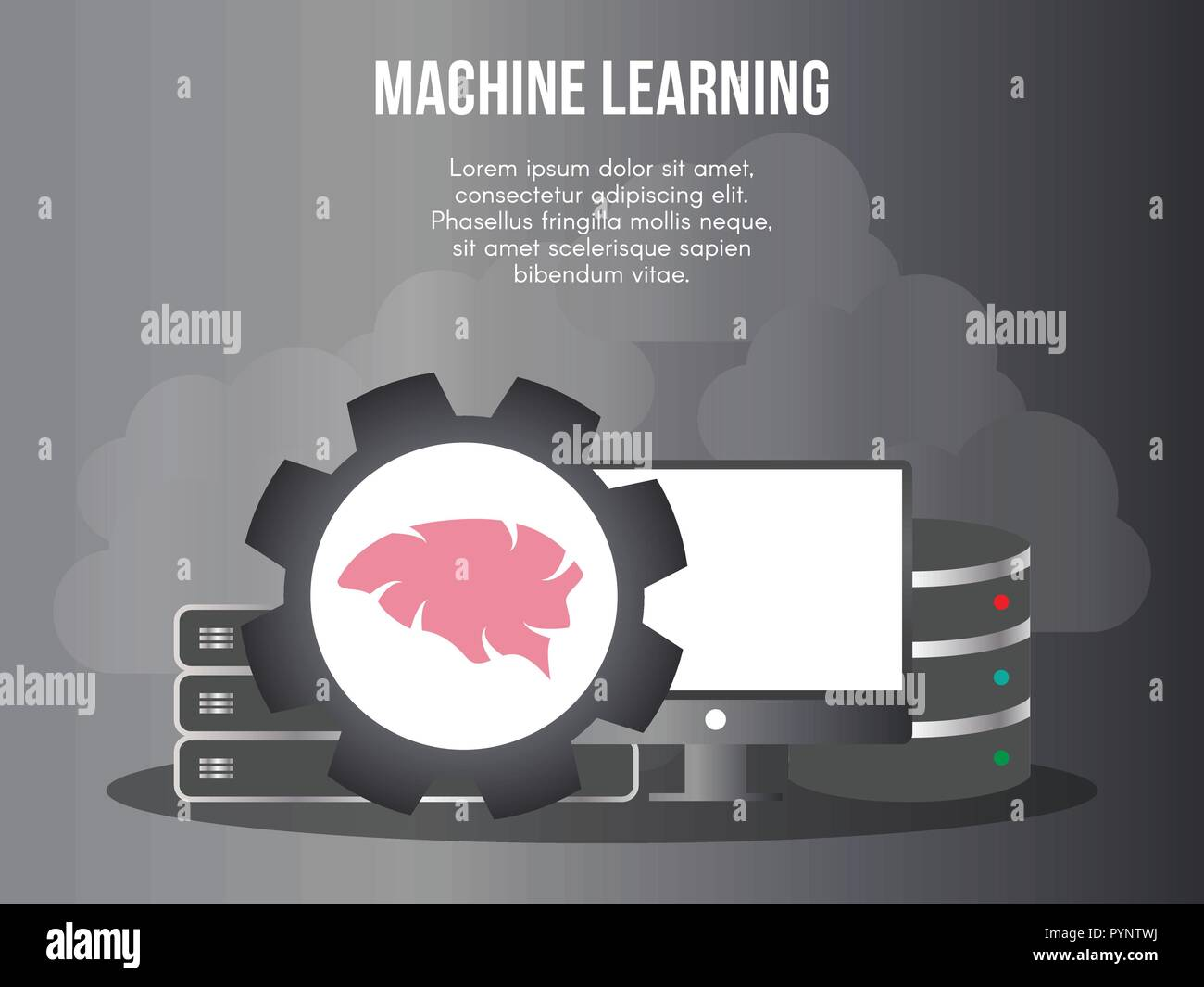 Machine learning concept. Ready to use vector. Suitable for background, wallpaper, landing page, web, banner and other creative work.