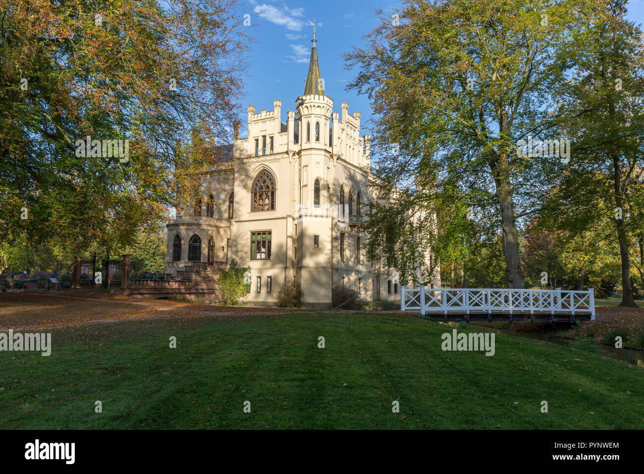Evenburg Castle in Leer built in neo-Gothic style - Stock Image