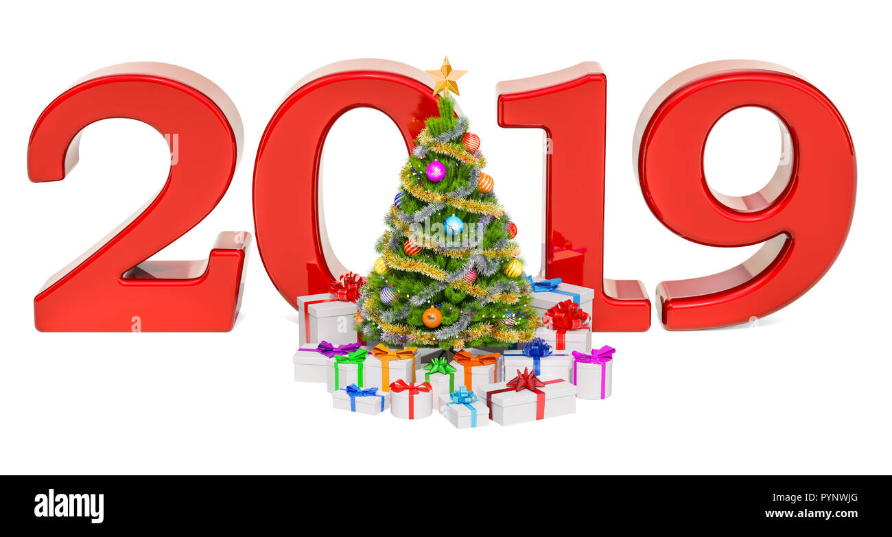Happy New Year And Merry Christmas 2019 Concept With Christmas Tree