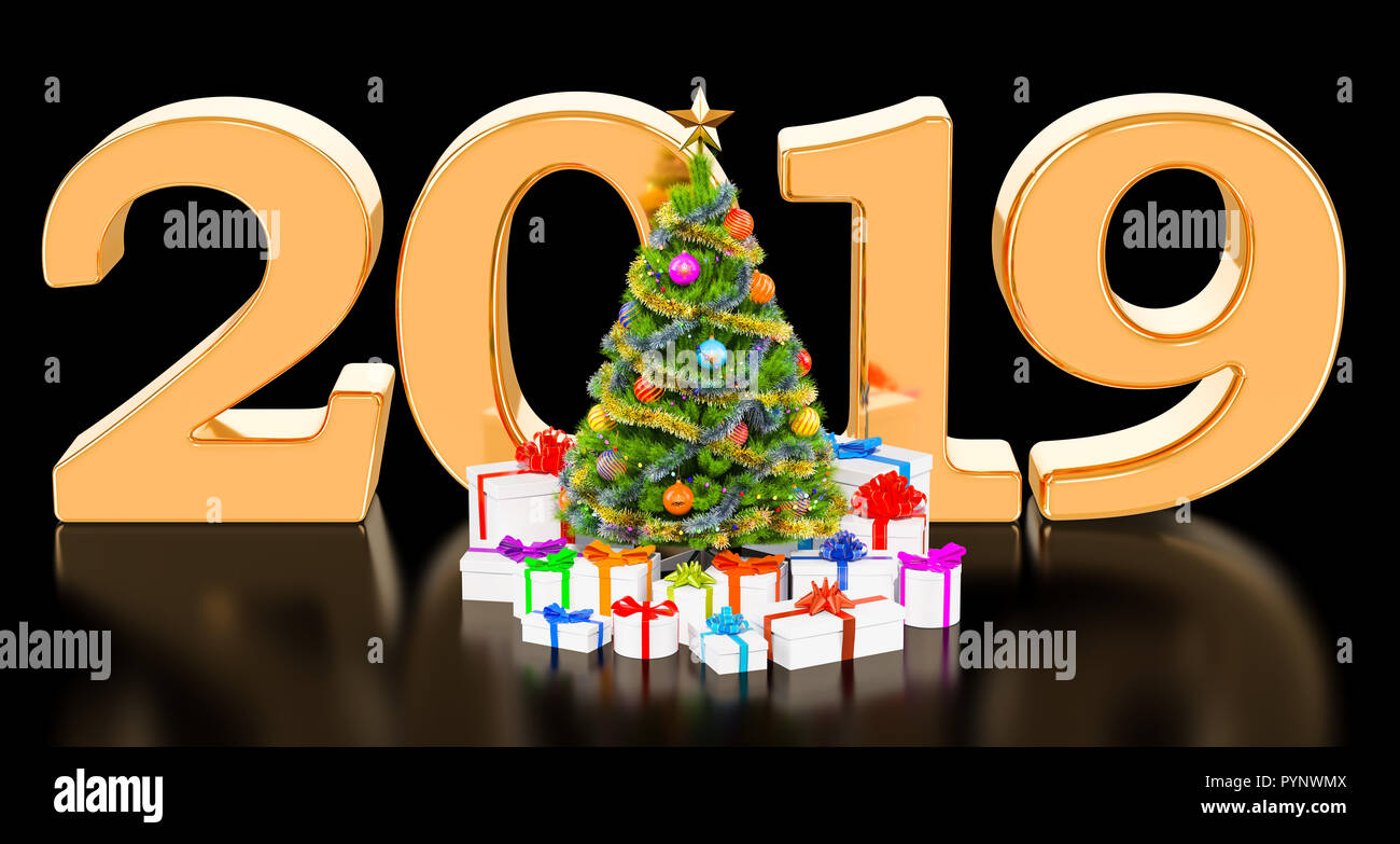 Merry Christmas And Happy New Year 2019 Concept With Christmas Tree