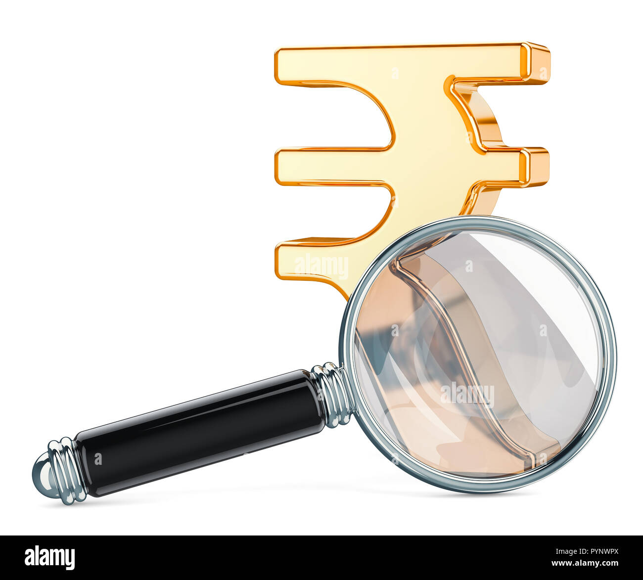 Rupee symbol with magnifying glass, financial analysis