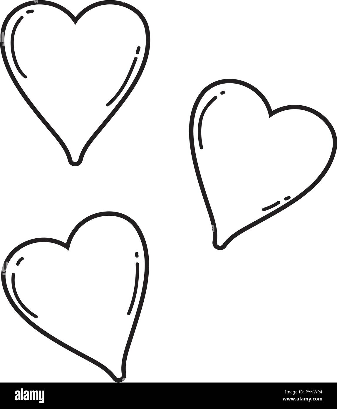 Cute hearts drawings black and white
