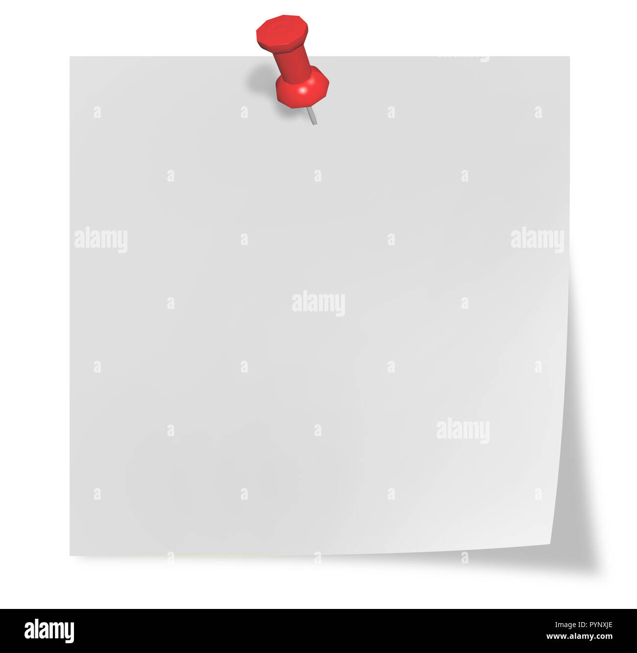 White sheet with red thumbtack isolated on white - Stock Image