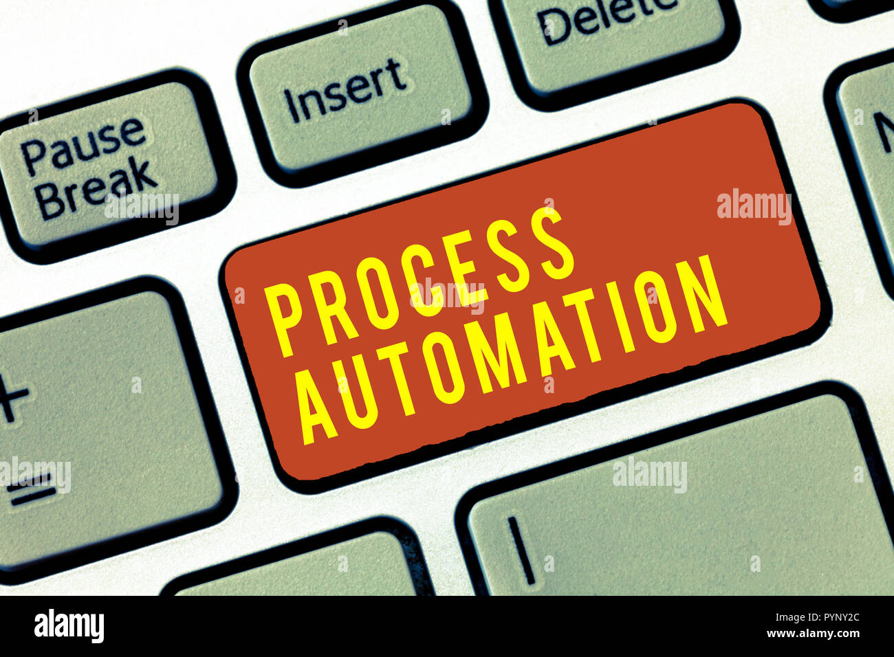 Handwriting text Process Automation. Concept meaning Transformation Streamlined Robotic To avoid Redundancy. - Stock Image