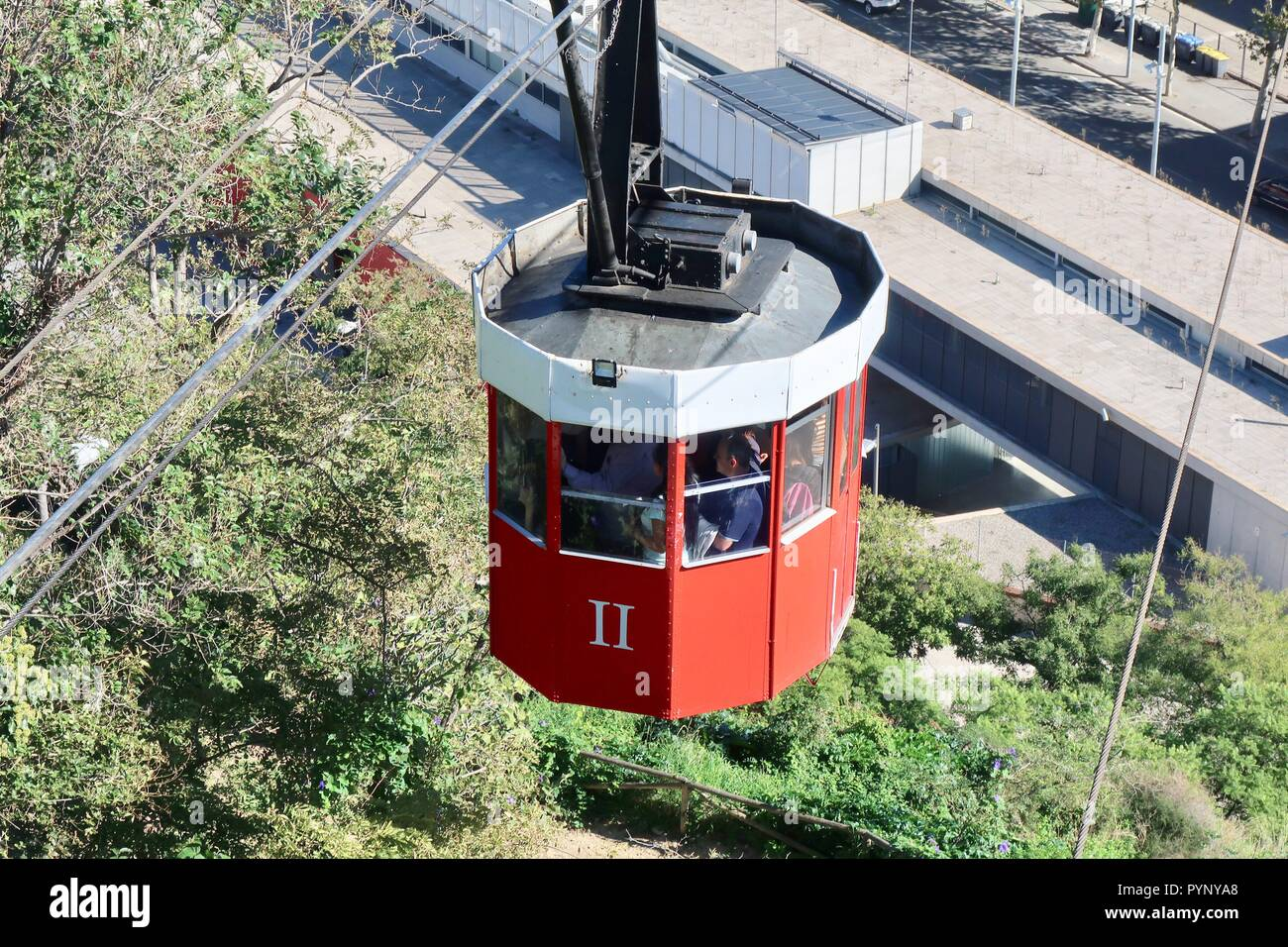 A port cable car arriving at Mont Juic Barcelona, Spain, October 2018. - Stock Image