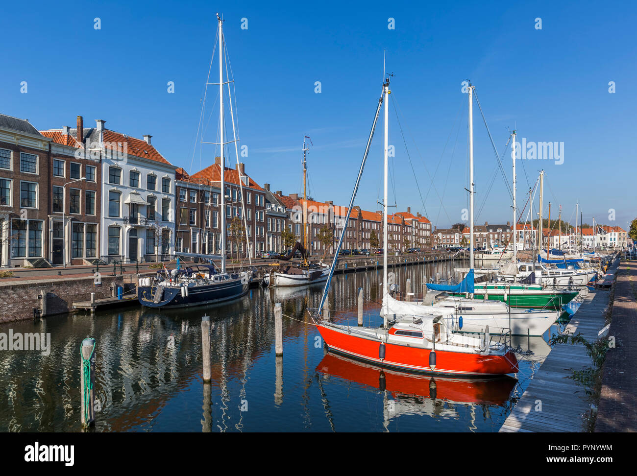 The colorful cityscape of Middelburg Stock Photo