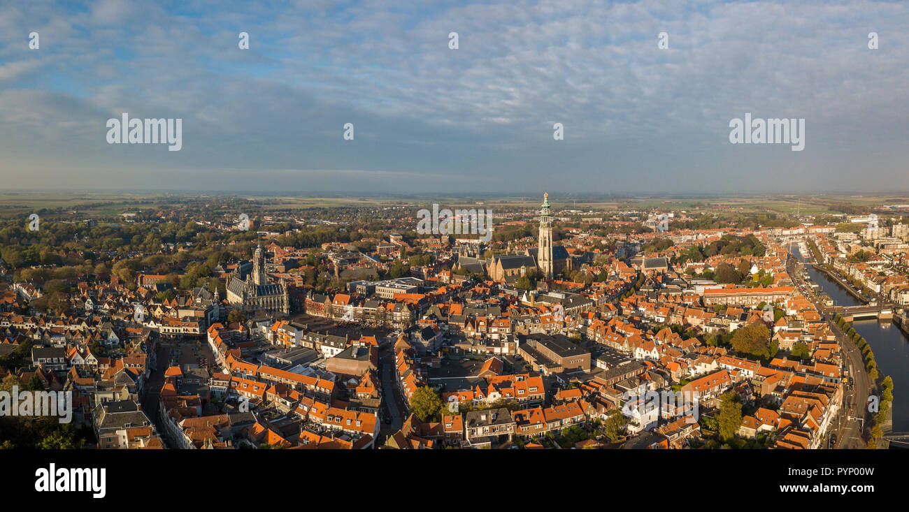 Aerial view of Middelburg, Zeeland Stock Photo