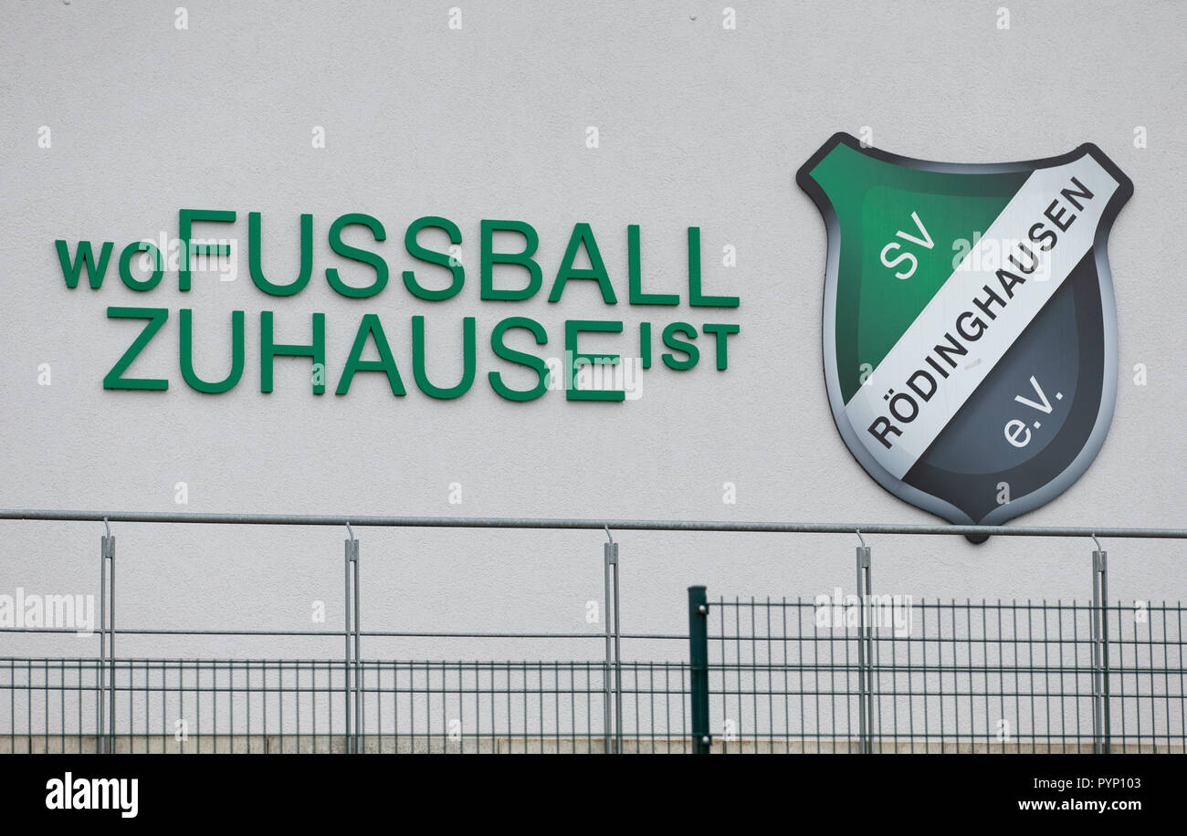 """Roedinghausen, Germany. 29th Oct, 2018. """"Where football is at home"""" written on the facade of the Haecker Wiehenstadion. SV Roedinghausen faces off against FC Bayern Munich in the 2nd round of the soccer DFB Cup. The game takes place in Osnabrueck. SV Roedinghausen is currently playing in the football regional league West. The home stadium is in the East Westphalian district of Herford in North Rhine-Westphalia. Credit: Friso Gentsch/dpa/Alamy Live News Stock Photo"""