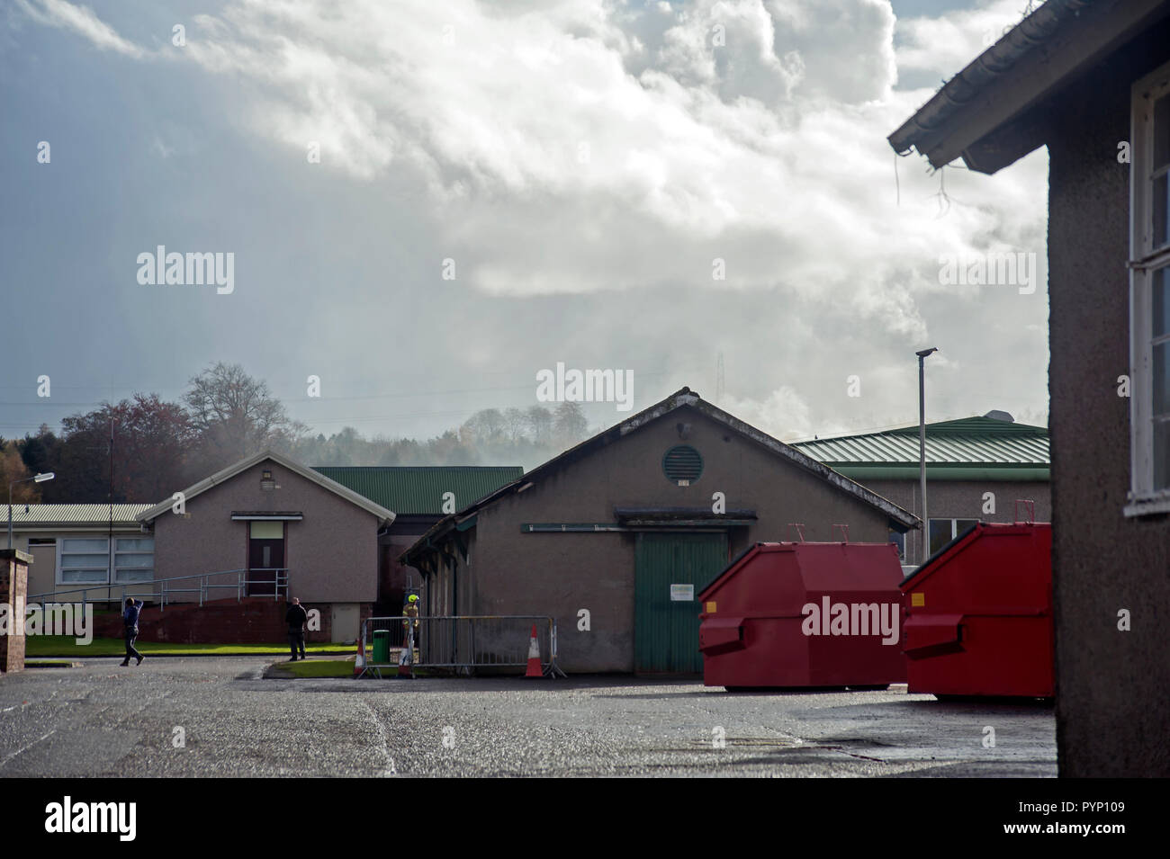 Brechin, Angus, Scotland, UK. 29th October, 2018. At around 11.15 this morning (29th October 2018) a fire broke out in the roof of the X-ray Dept. of Stracathro Hospital, Brechin, Angus, Scotland. The fire was thought to have been started on a flat roof under repair before extending into the main roof. Patients and staff were evactuated from the Surgical Unit which houses the X-ray Dept. and transferred to a separate Learning and Education Centre on site. Credit: Photog1/Alamy Live News - Stock Image