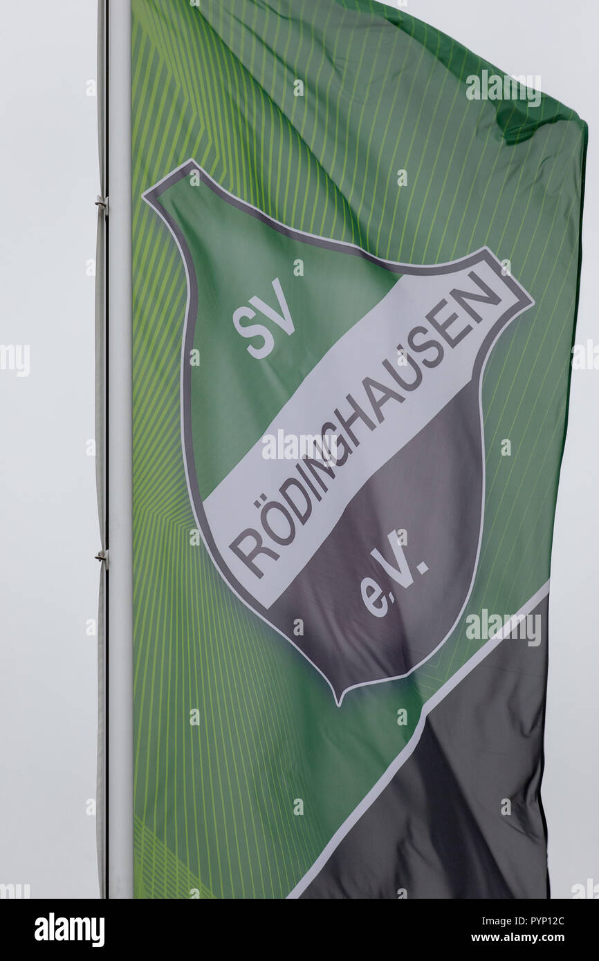 Roedinghausen, Germany. 29th Oct, 2018. The club flag of SV Roedinghausen e.V. blowing in the wind in front of the Haecker Wiehenstadion. SV Roedinghausen faces off against FC Bayern Munich in the 2nd round of the soccer DFB Cup. The game takes place in Osnabrueck. SV Roedinghausen is currently playing in the football regional league West. The home stadium is in the East Westphalian district of Herford in North Rhine-Westphalia. Credit: Friso Gentsch/dpa/Alamy Live News Stock Photo