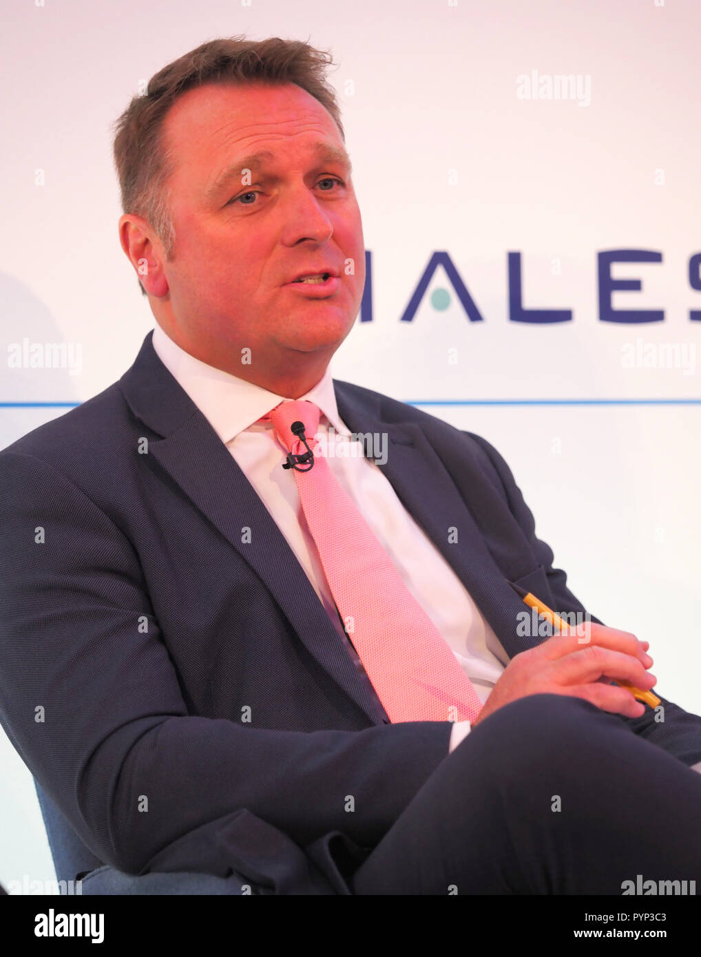 London, UK. 29th Oct, 2018. Derek Provan CEO of Aberdeen Glasgow and Southampton airports, speaking at the Airport Operators Conference being held at County Hall, London today (Mon) Credit: Finnbarr Webster/Alamy Live News - Stock Image
