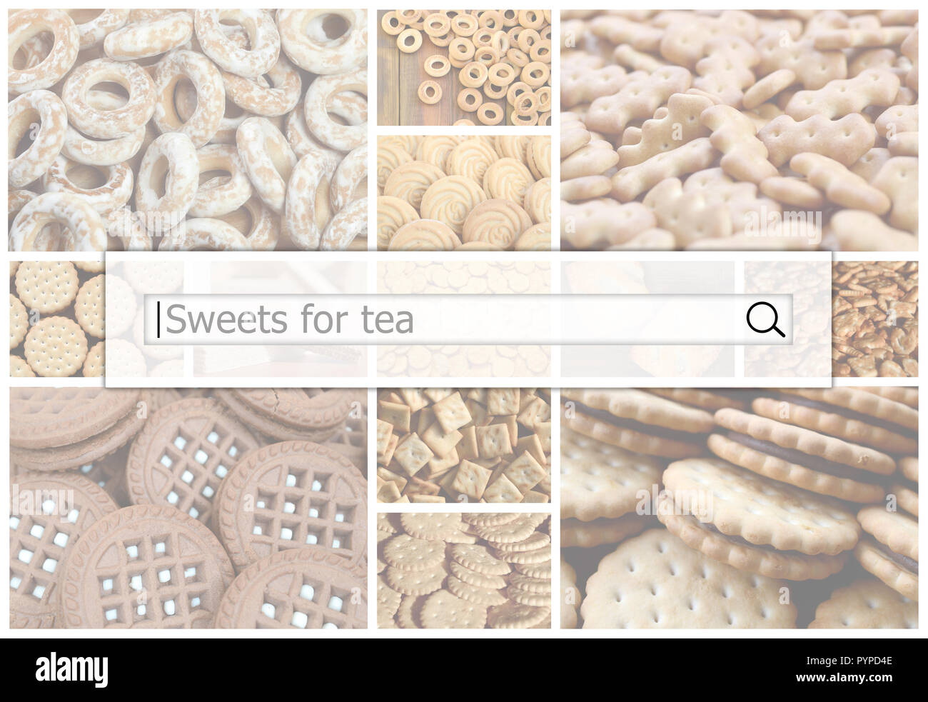 Visualization of the search bar on the background of a collage of many pictures with various sweets close up. Sweets for tea - Stock Image