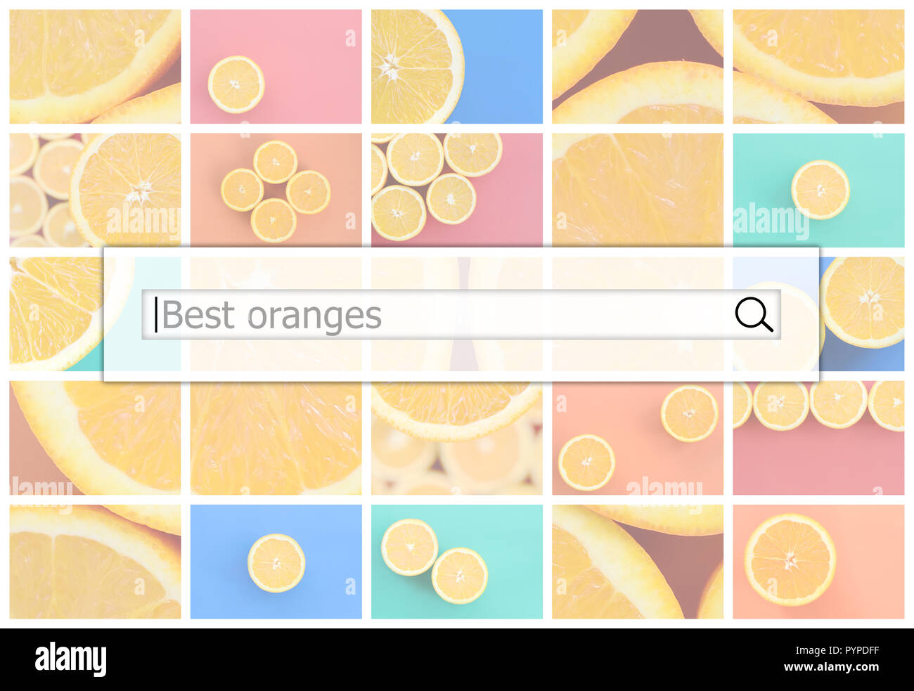 Visualization of the search bar on the background of a collage of many pictures with juicy best oranges. - Stock Image