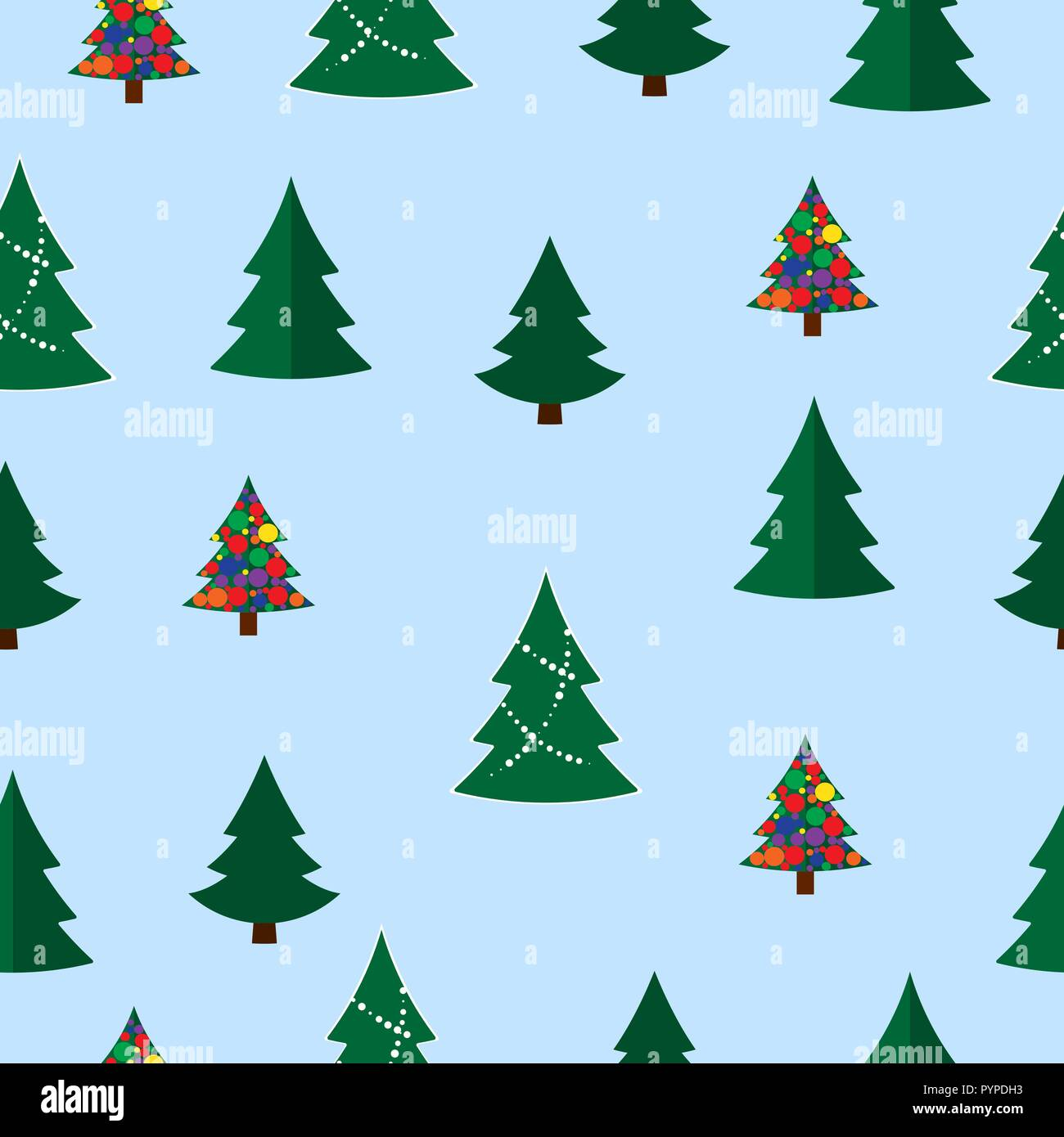 Christmas Tree Pattern.Vector Christmas Tree Seamless Pattern Winter Forest Pine