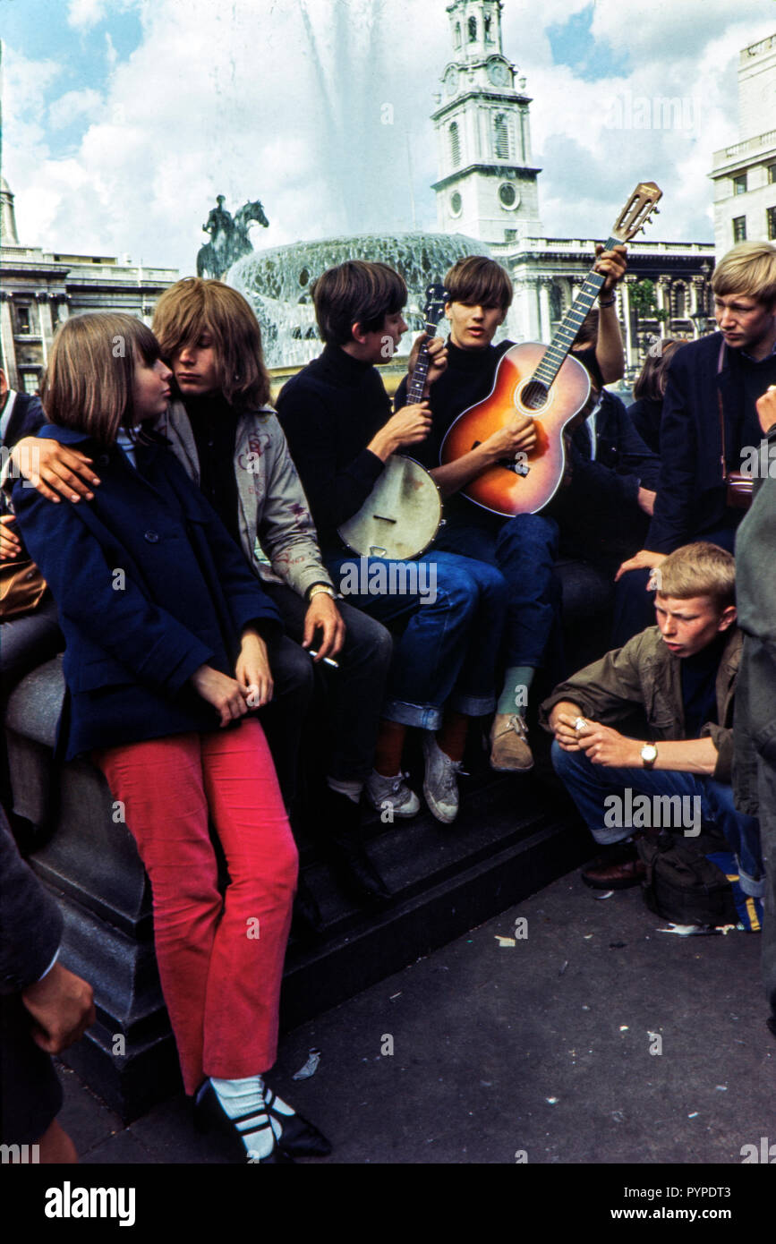 Hippies in Trafalgar Square, London during the late 1960s Colin Maher/Simon Webster - Stock Image
