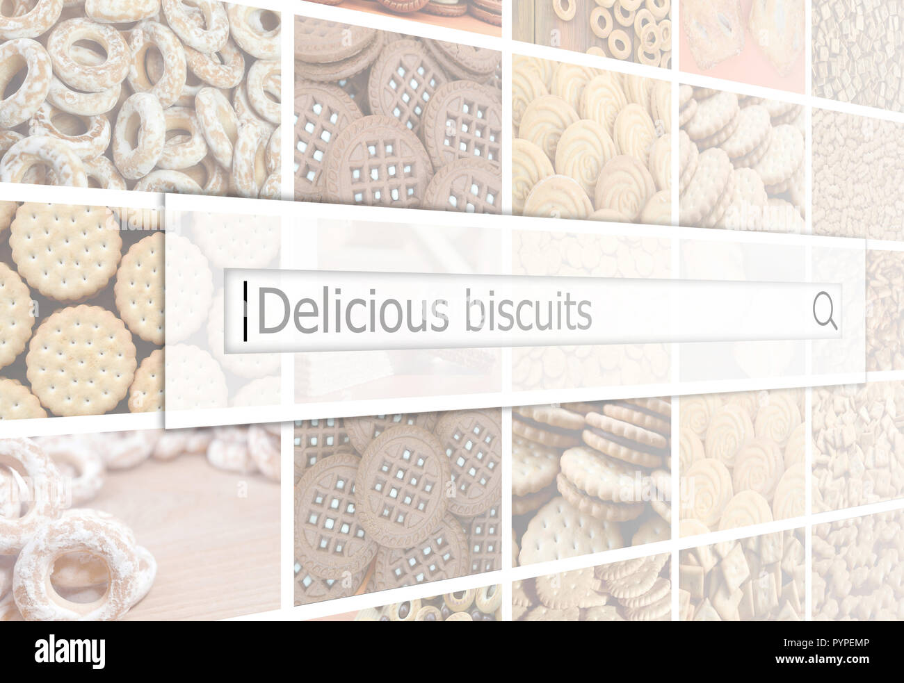 Visualization of the search bar on the background of a collage of many pictures with various sweets close up. Delicious biscuits - Stock Image