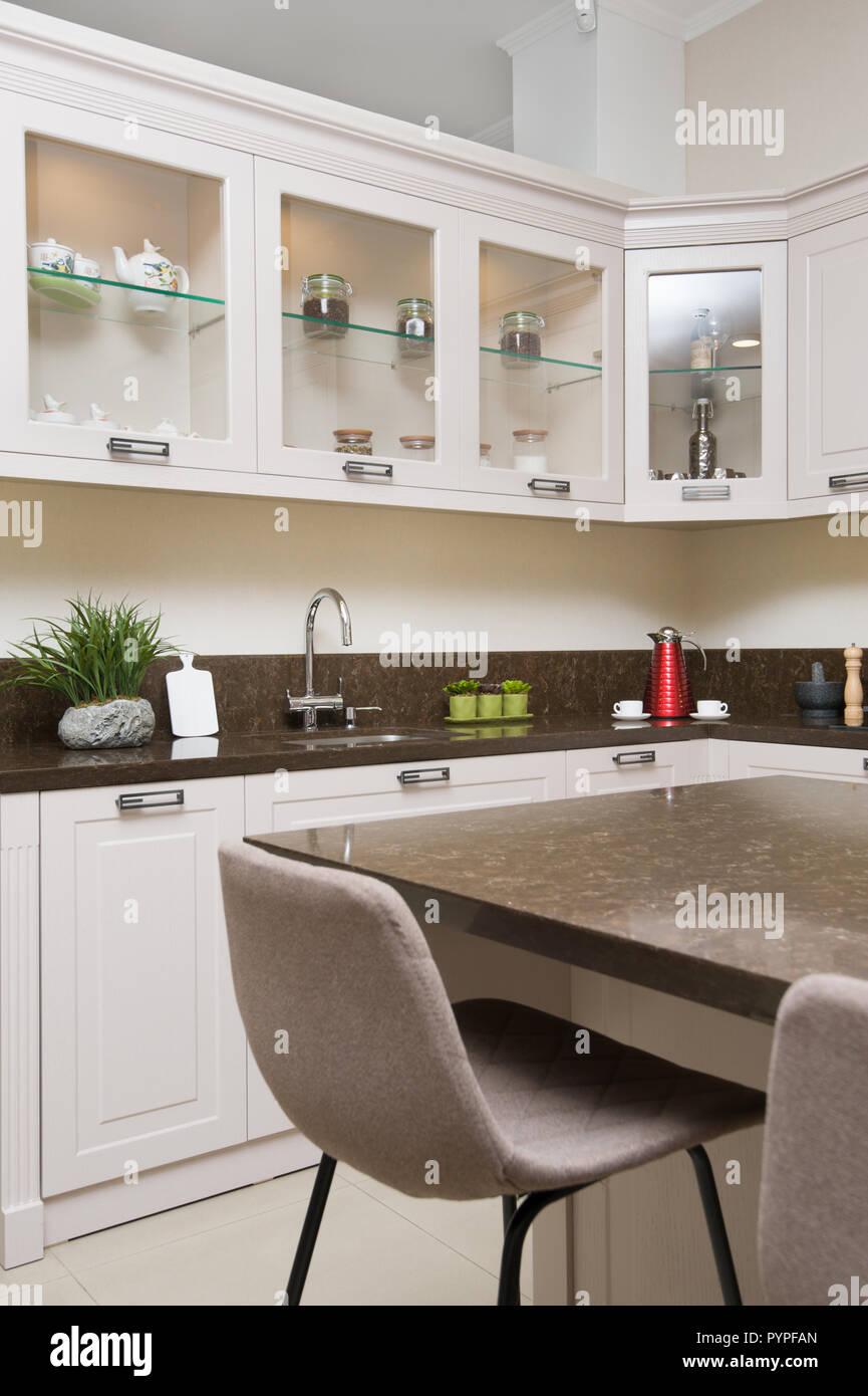 Luxury Modern Beige Kitchen Interior Stock Photo 223615133 Alamy