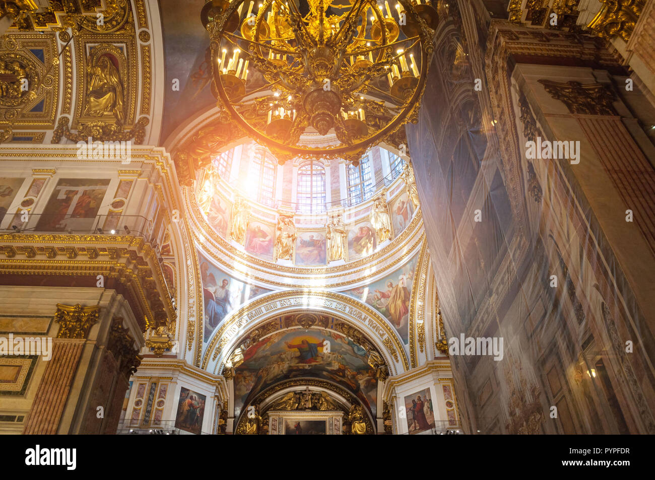 ST PETERSBURG, RUSSIA - AUGUST 15, 2017. Interior of the St Isaac Cathedral in St Petersburg, Russia - Stock Image