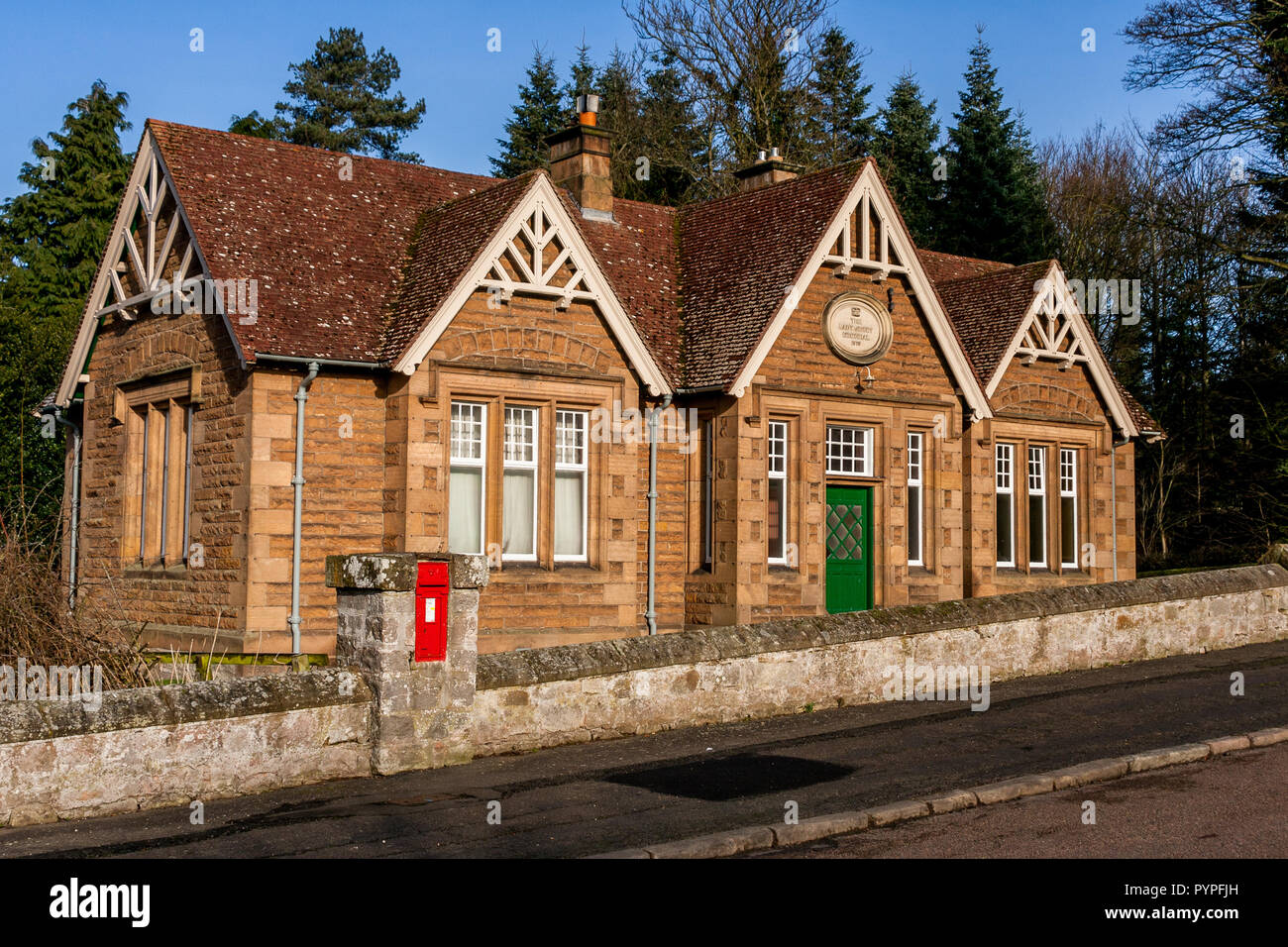 Built in 1913, the Lady Joicey Memorial Hall in Ford village on the Ford & Etal Estate in North Northumberland Stock Photo