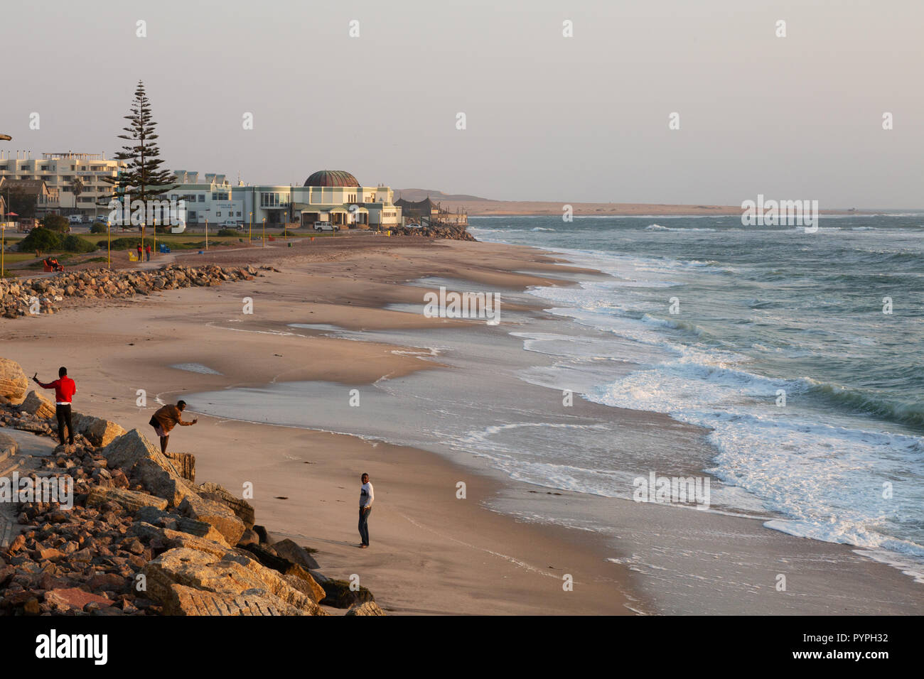 Swakopmund Namibia - Africa seascape; the beach on the Namibian coast at Swakopmund, Namibia, Africa - Stock Image