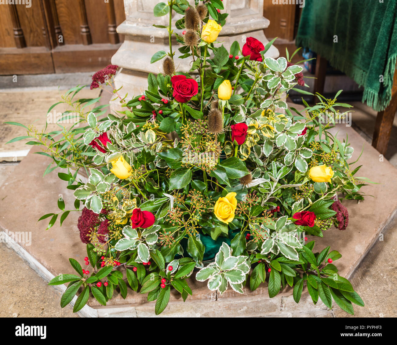 All Saints Church In East Budleigh Superb Flower Arrangements For The Anniversary Of Sir Walter Raleigh S Execution Stock Photo Alamy