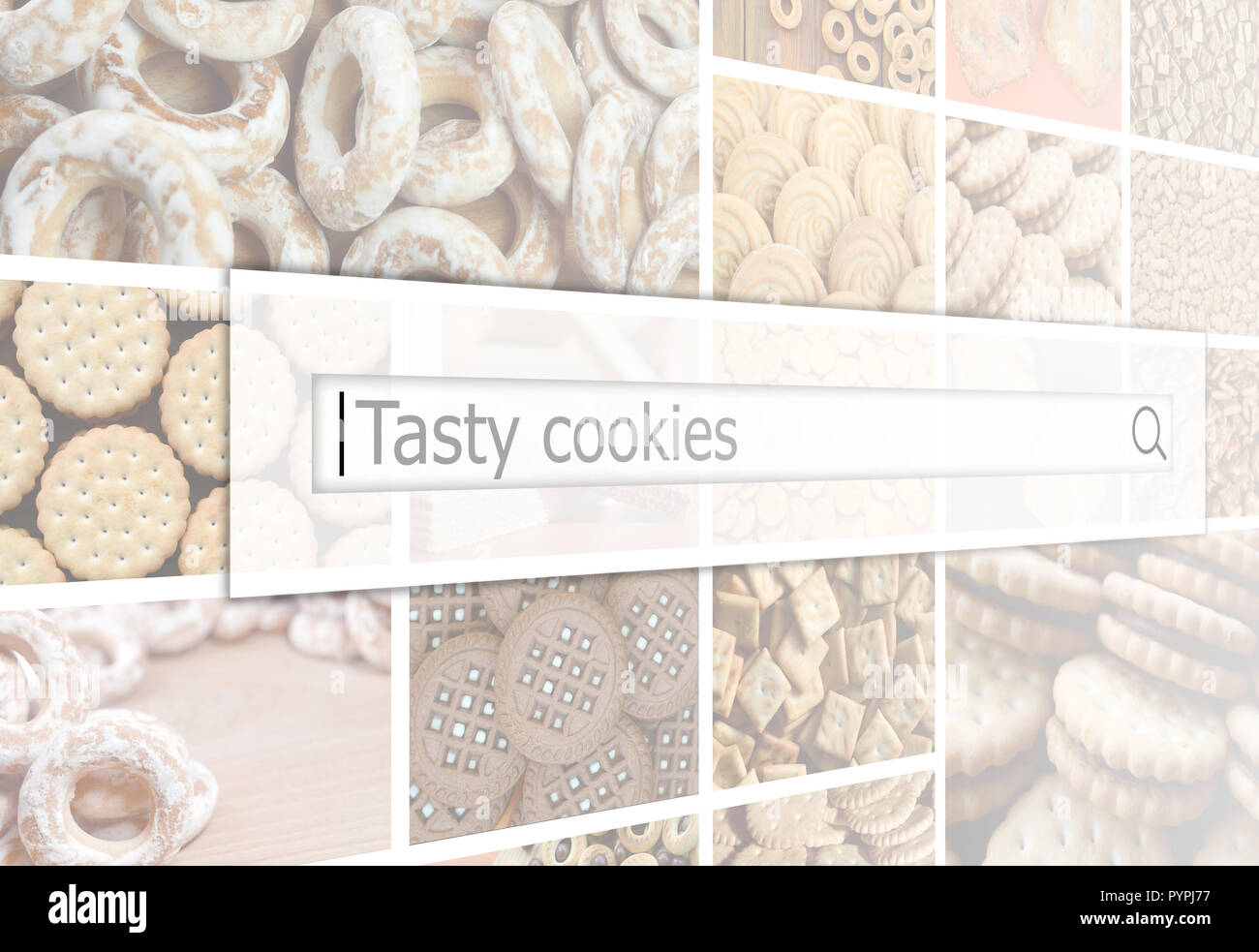 Visualization of the search bar on the background of a collage of many pictures with various sweets close up. Tasty cookies - Stock Image