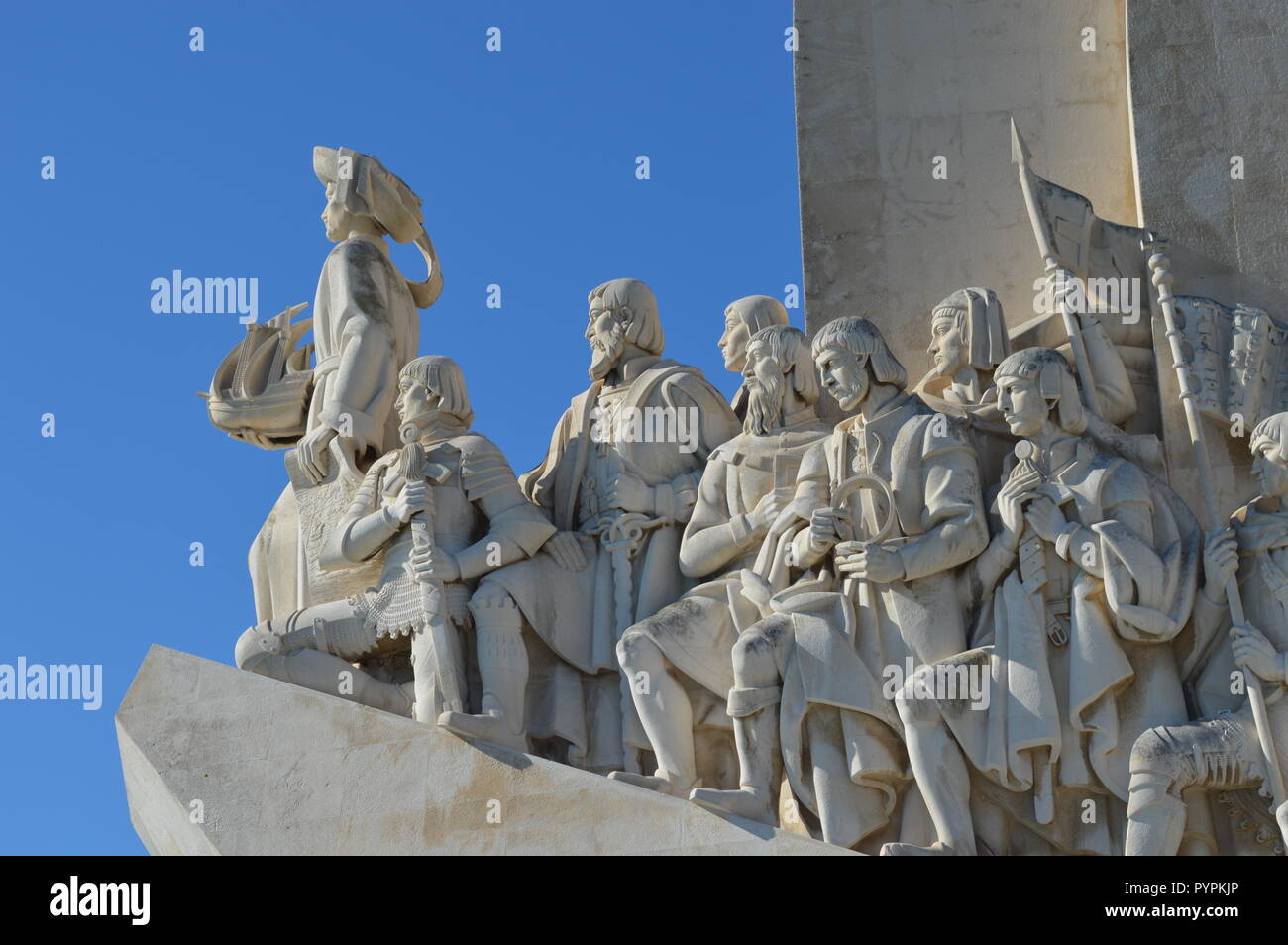 The Monument of the Discoveries at the Tagus River in Lisbon, Portugal, was built in honor of Henry the Navigator, celebrating the Age of Exploration. Stock Photo