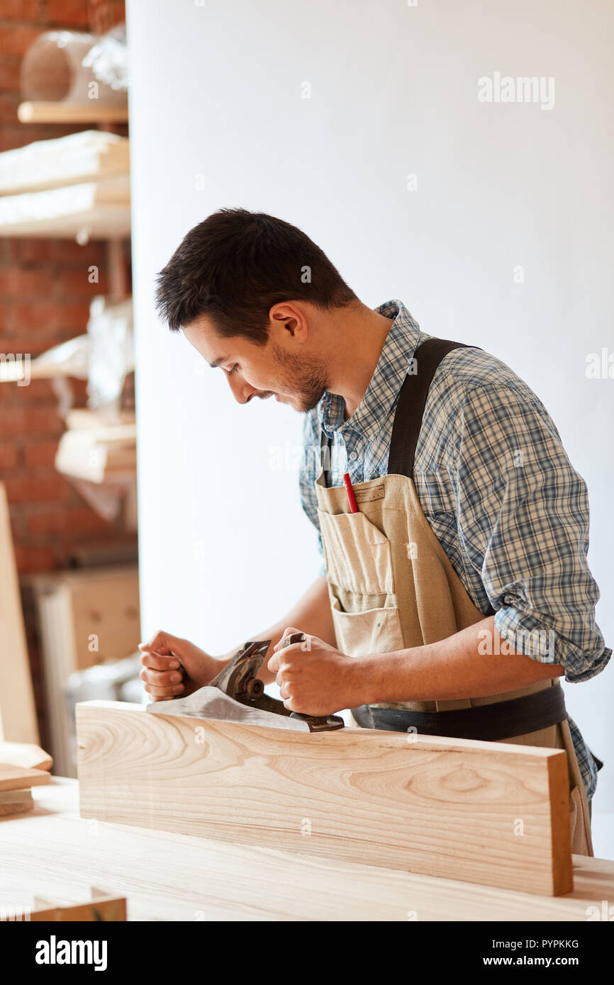 Carpentry Carpenter Woodworker Woodworking Wooden: Wood Planer Stock Photos & Wood Planer Stock Images