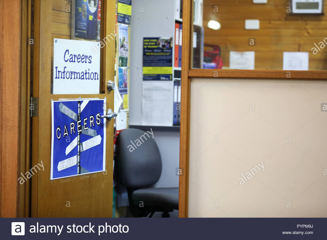 open door to the career adviser coordinator room in a high school environment. Further education and employment, future, choices and advice concept. - Stock Image