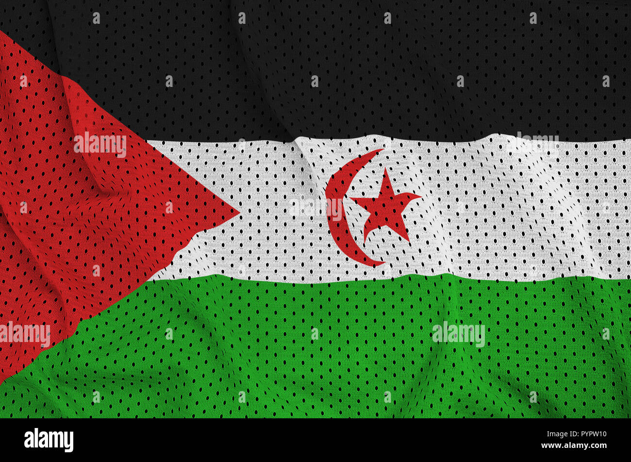 Western Sahara flag printed on a polyester nylon sportswear mesh fabric with some folds - Stock Image