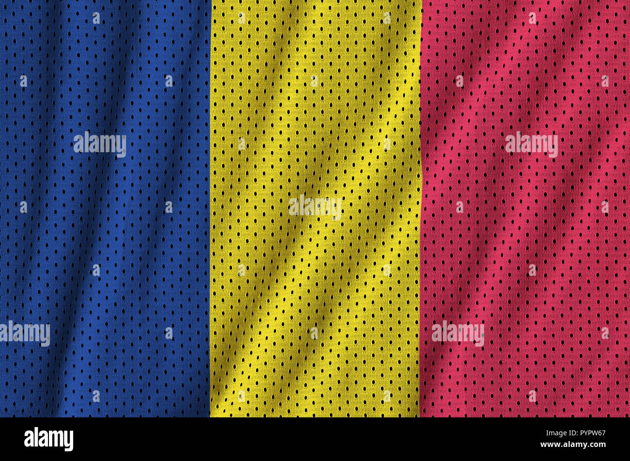 Chad flag printed on a polyester nylon sportswear mesh fabric with some folds - Stock Image