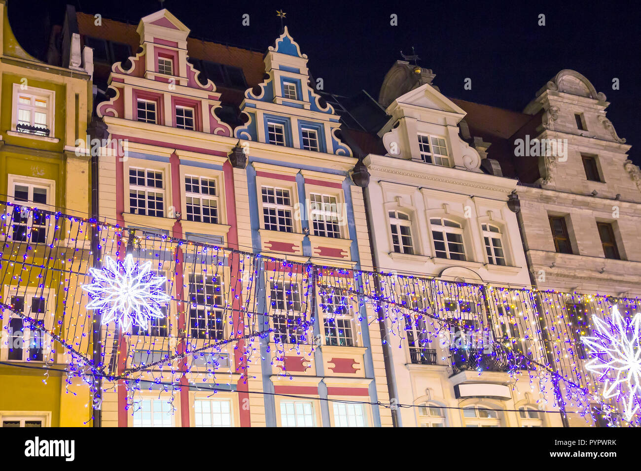 Beautiful old houses with holiday decoration on the central square of Wroclaw, Poland - Stock Image