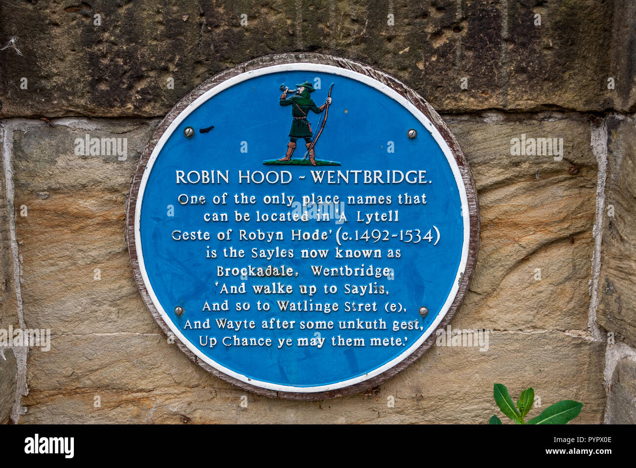 Blue Plaque on Went Bridge commemorates the areas association with Robin Hood - Stock Image