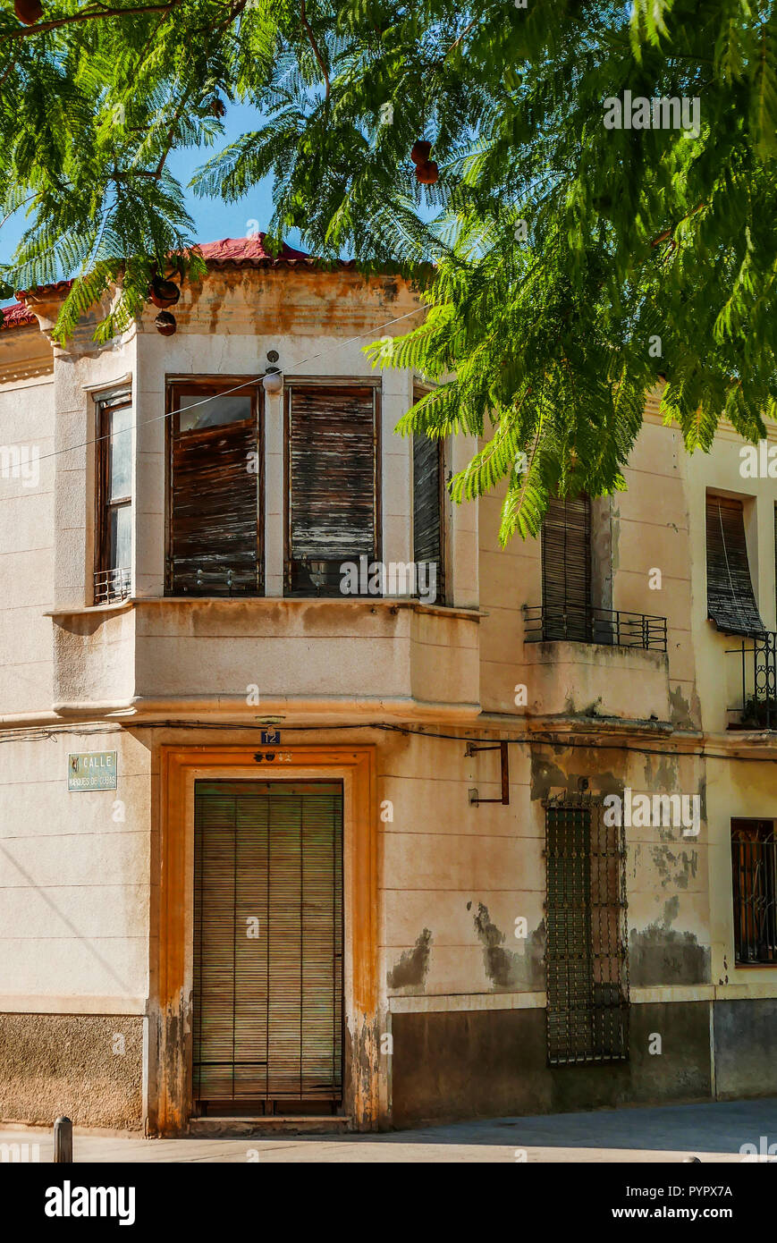 Beautiful old house on the corner of Calle de Marques De Cubas in the  village of Jicarilla, Spain Stock Photo