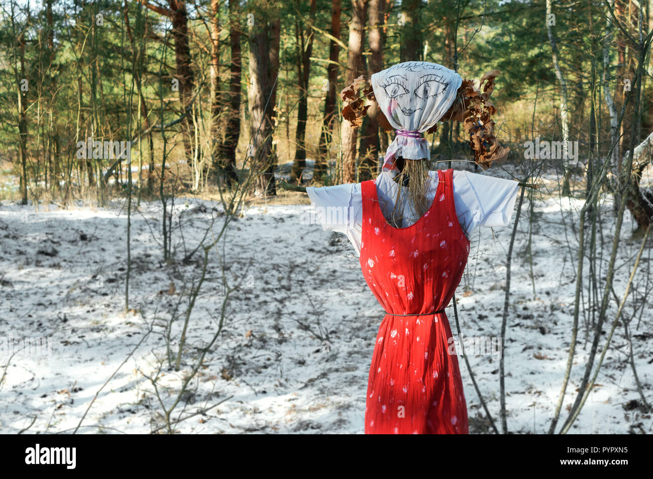 18 February 2018, Kaliningrad, Russia, Maslenitsa festival in the forest, stuffed winter in a red sundress Stock Photo