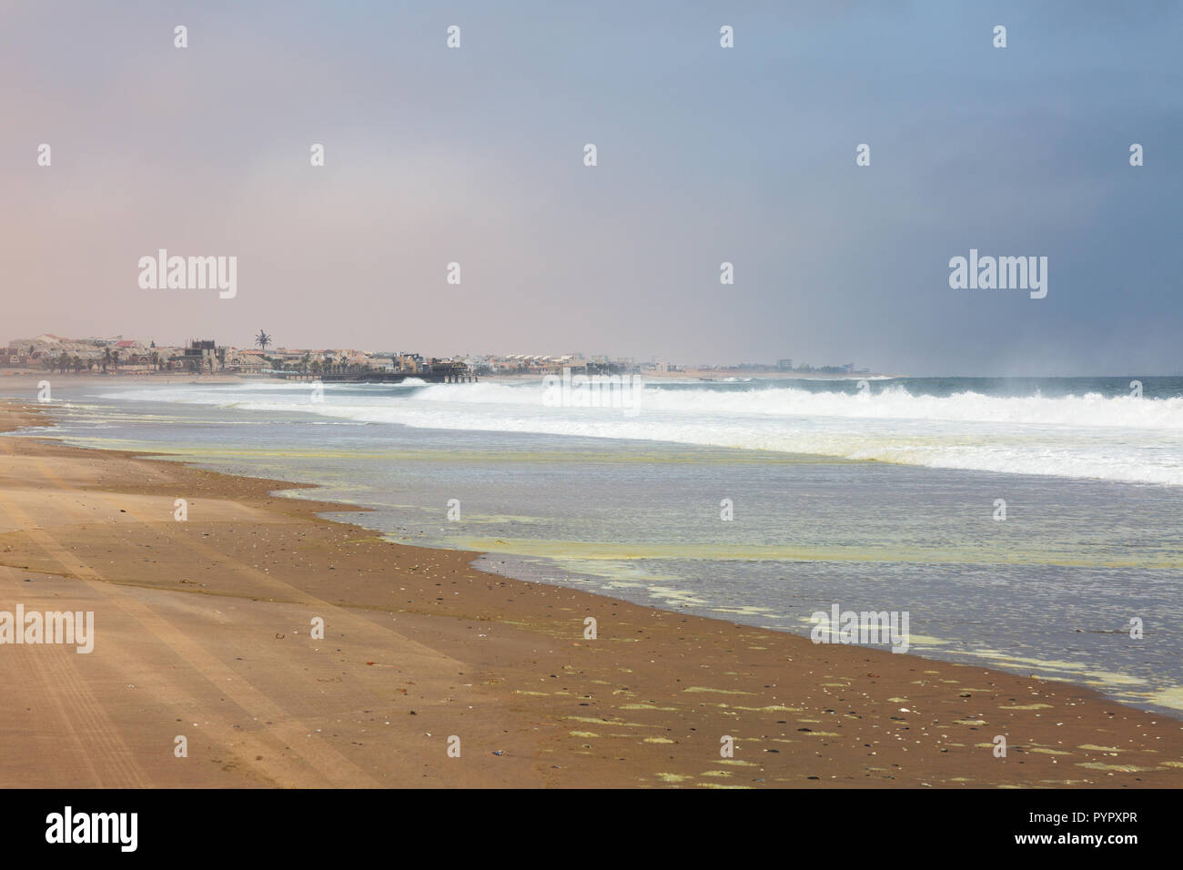Namibia beach - the beach at Walvis Bay, Namibia Africa - Stock Image